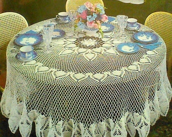 Vintage Crocheted Round Pineapple Mesh Tablecloth Pattern