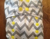 One-Size Cloth Diaper Cover: Grey Chevron Print