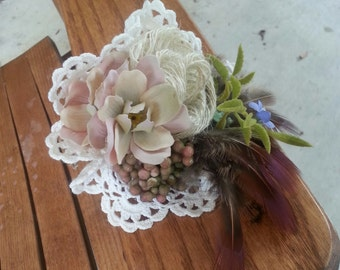 Custom Order Pale Pink vintage Inspired Posy Corsage with Feathers