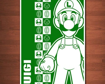 """Super Mario Bros (Luigi) Print - 11"""" x 17"""""""