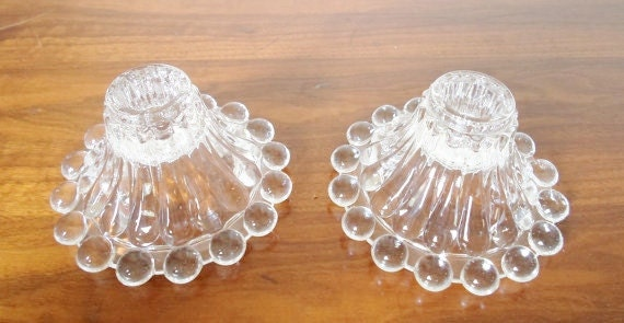 Vintage,  Anchor Hocking, Bubble Glass,  Candleholders, Boopie,  Berwick,  Candlewick Pattern, Pair
