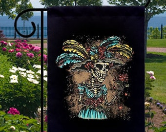 Catrina Fancy Hat New Small Garden Yard Flag, Day of the Dead