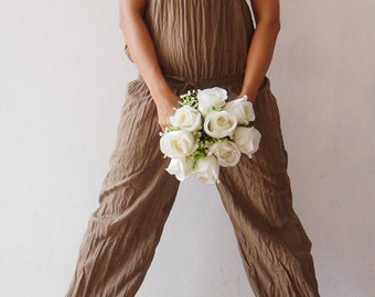 Sexy...Me Maxi  Soft Brown Pant-Dress Cotton (Size S-M)