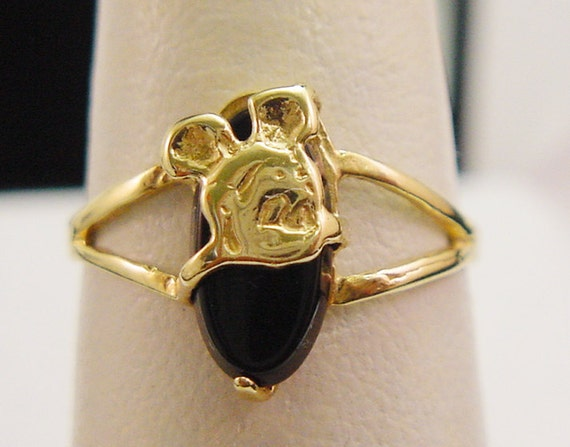 Walt Disney Mickey Mouse Black Onyx Ring in Solid 10K Yellow Gold