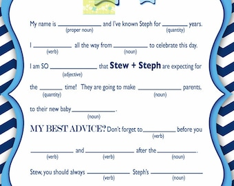 Chevron Blue Elephant Baby Shower Personalized Mad Lib - Blue Chevron Elephant Baby Shower Mad Lib Game