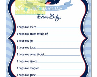 Whale Baby Shower Wishes for Baby Card - Blue Mom and Baby Whale Baby Shower Wishes for Baby - Navy, blue and red whale baby shower