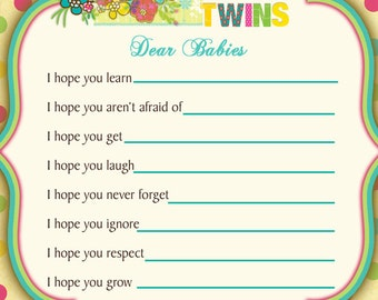 Twins Owls Baby Shower Wishes for Baby Card  - Owls Baby Shower WIshes for Baby - Twins Owls Baby Shower - Summer Owl Baby Shower Wishes