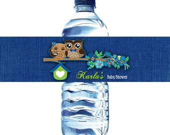 Blue Owls Baby Shower Water Bottle Label DIY  - Owls Spring Baby Boy Shower water bottle label DIY - Blue and Lime Owls water bottle label