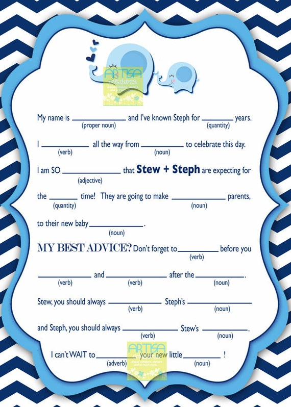 chevron blue elephant baby shower personalized mad lib blue