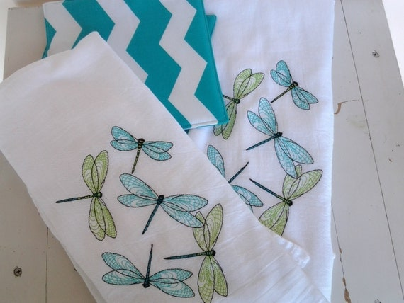 Embroidered Dish Towel Set Of Two Dragonfly Motif Turquoise