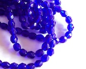 Czech glass x 100, Cobalt, 4mm round , fire polished beads