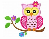 Instant Download Flower Owl On Branch Applique Machine Embroidery Design NO:1330