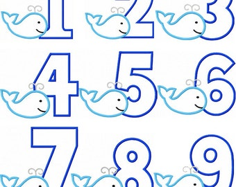 Instant Download Whale Numbers 1-9 Applique Machine Embroidery Design NO:1345