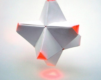 Paper Origami Lamp. White and Orange. 24 sides. (Polyhedra Luminaria Series)