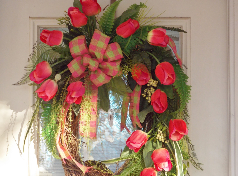 Pink Tulip Grapevine Wreath Spring Wreath Easter Wreath