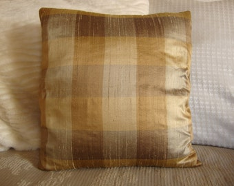 "Plaid silk pillow cover-Set of two- 16""x16"""