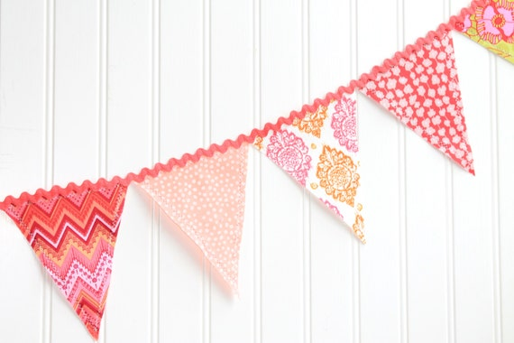 Pink, Red, and Orange Fabric Pennant Banner