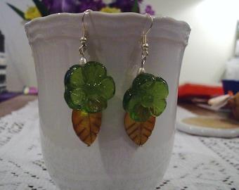 Green Flower Glass Earrings