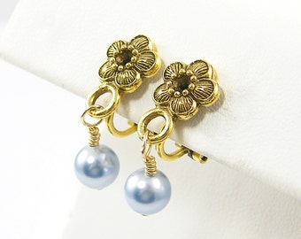 Blue Pearl Clip on Earrings, Gold Flower Clip Earrings |EB1-3