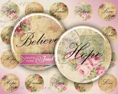Hope, Dream, Love, Believe - circles image - digital collage sheet - 1 x 1 inch - Printable Download