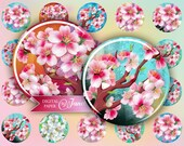 Cherry Flower - circles image - digital collage sheet - 1 x 1 inch - Printable Download