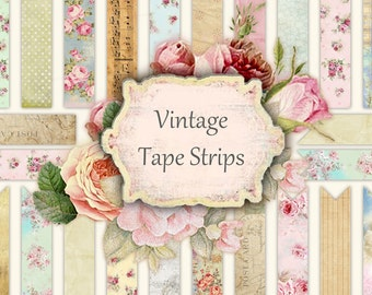 Vintage Tape Strips - digital collage sheet - set of 30 strips - scrapbooking - Printable Download