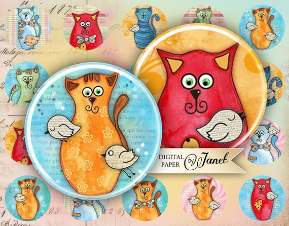 My Friend - circles image - digital collage sheet - 1 x 1 inch - Printable Download