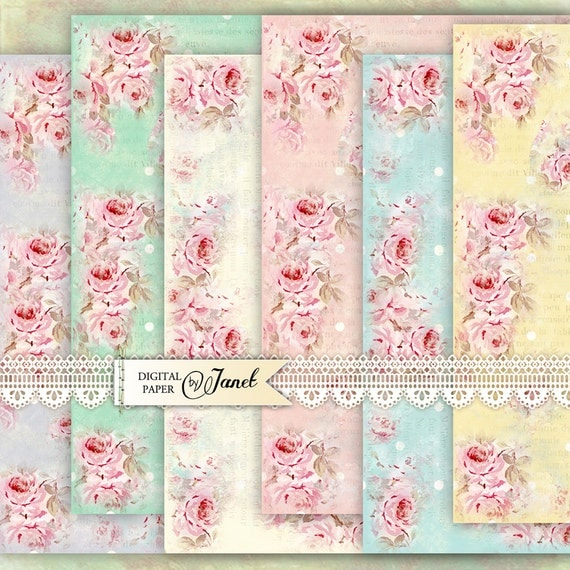 Big Paper Roses - 12 x 12 inch - background - digital collage - set of 6 - Printable Download
