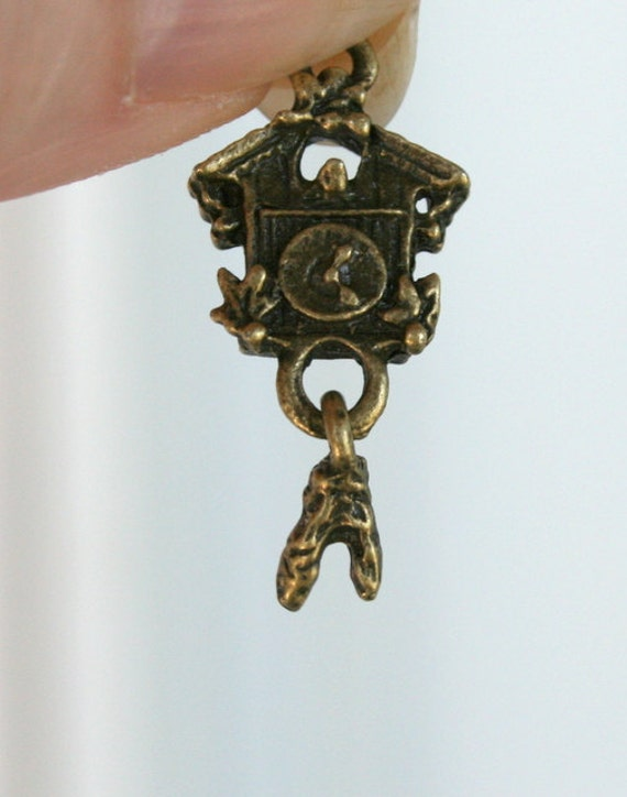 8 antique bronze coo coo clock with moving pendulum charms pendants from vjsbeadsnneeds on etsy - Coo coo clock pendulum ...