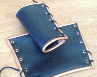 Black Vinyl Bracers with Copper Piping Adult Medium