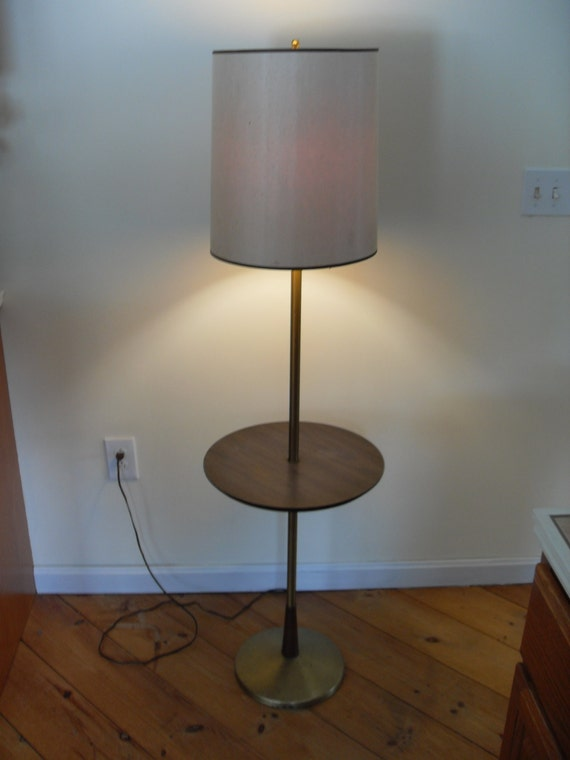 vintage mid century modern floor lamp with table. Black Bedroom Furniture Sets. Home Design Ideas