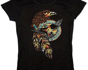 Ladies T-shirt / Rhinestone Eagle design