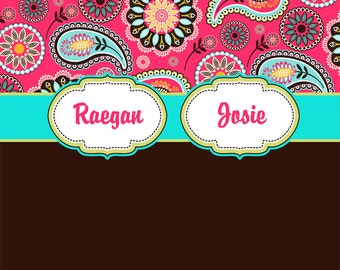 Paisley Pink, Teal and Brown Personalized Shower Curtain, Custom Monogrammed Curtain