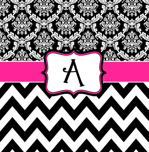 Damask And Chevron Hot Pink Black And White Personalized