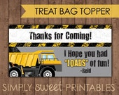 Construction/Truck DIY Printable Treat Bag Topper - Personalized