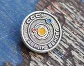 "Vintage Soviet pin,badge.USSR badge.Soviet Space Propaganda.""Earth-Venus"""