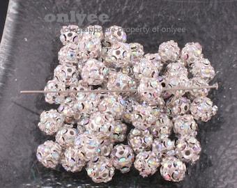 20pcs-6mmSilver Filigree Rhinestone Balls(K375)