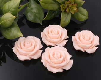 50%off 8pcs-30mm Large Detaied Leaves Rose Resin Cabochons -peach(J106B)
