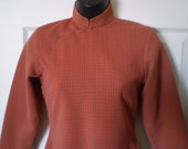 On Sale AUTUMNAL  Rockabilly VINTAGE Mandarin Rust Wiggle Cheongsam Asian Dress Size Small