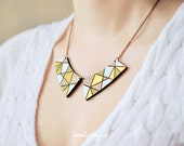 Wood Pendant collar with gold geometric pattern (laser cut & hand painted)