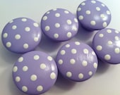 Lilac Polka Dot Drawer Knobs for your Dresser - Perfect for Your Little One's Nursery - priced PER KNOB