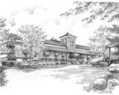 8x10 Custom Wedding Church / Venue Portrait Graphite Pencil  Fine Art Drawing Anniversary