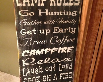 Camp Rules Sign, 12 x 24 , with a Distressed Finish