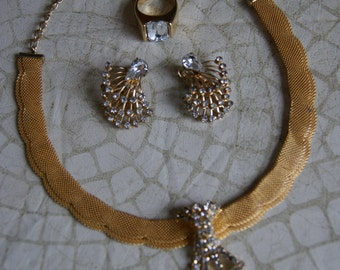Vintage Gold Tone Jewelry Adjustable Choker Style Necklace And Ring And Clip On Earrings With Rhinestones Suite Or Set