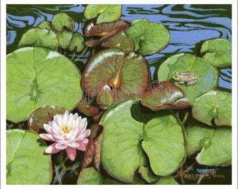 Wildlife Print - Water Garden - Wildlife Art - Water Painting - Frog - Lily Pads