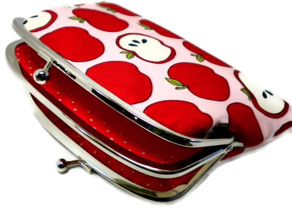 Unique coin purse, Apple blossom kiss lock frame wallet pink and red polka dots - kitsch