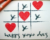 Hugs and Kisses xoxo Tic Tac Toe with Red Hearts - Valentine's Day Card - 5farthings