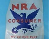 NATIONAL RECOVERY AGENCY window decal from 1933