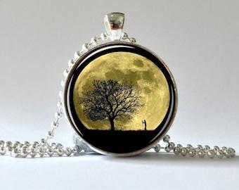 Full Moon Pendant. Tree Pendant. Tree of Life. Photographer Pendant. Art Pendant, Glass Dome Pendant, Altered Art Pendant 011