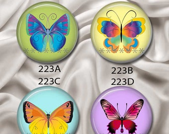 "Butterflies - Interchangeable Magnetic Design Inserts - FIT Clique and Magnabilities 1"" Pendant Jewelry Bases...223"